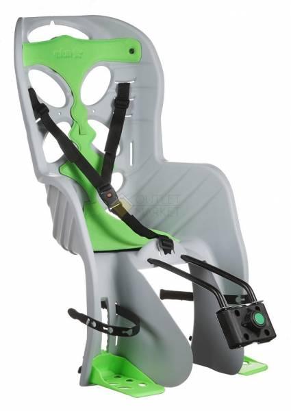 Детское кресло на подседельный штырь CURIOSO серое с зеленой вставкой до 7лет/22кг NFUN Италия